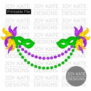 Mardi Gras mask and bead frame watercolor PNG clipart image
