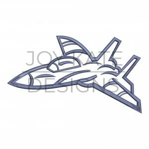 Satin outline fighter jet airplane embroidery design