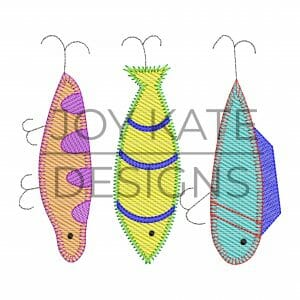 Low density sketchy fill fishing lure trio embroidery design