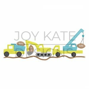 Football Construction Vehicle Trio Sketch Embroidery Design