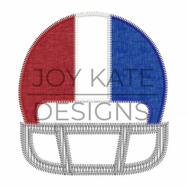 Football helmet applique design for machine embroidery