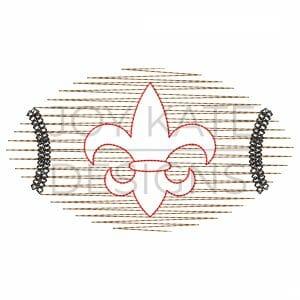 Scribble stitch fleur de lis football design for machine embroidery