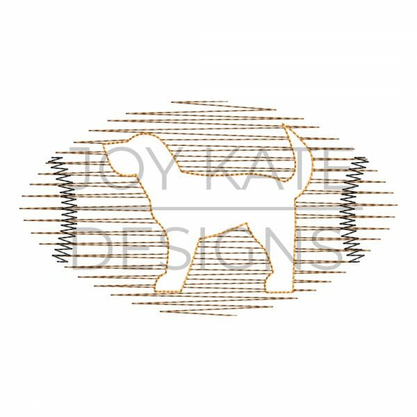 Scribble stitch hound dog football design for machine embroidery