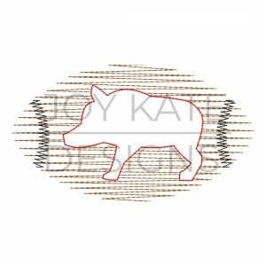 Scribble stitch hog football design for machine embroidery
