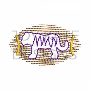 Scribble stitch tiger football mini design for machine embroidery