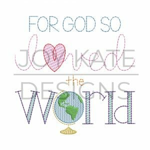 John 3:16 Bible Verse Vintage Sketch Design for Machine Embroidery