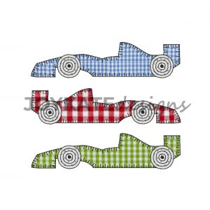 Set of 3 Raggy Blanket Stitch Race Car Appliques for Machine Embroidery