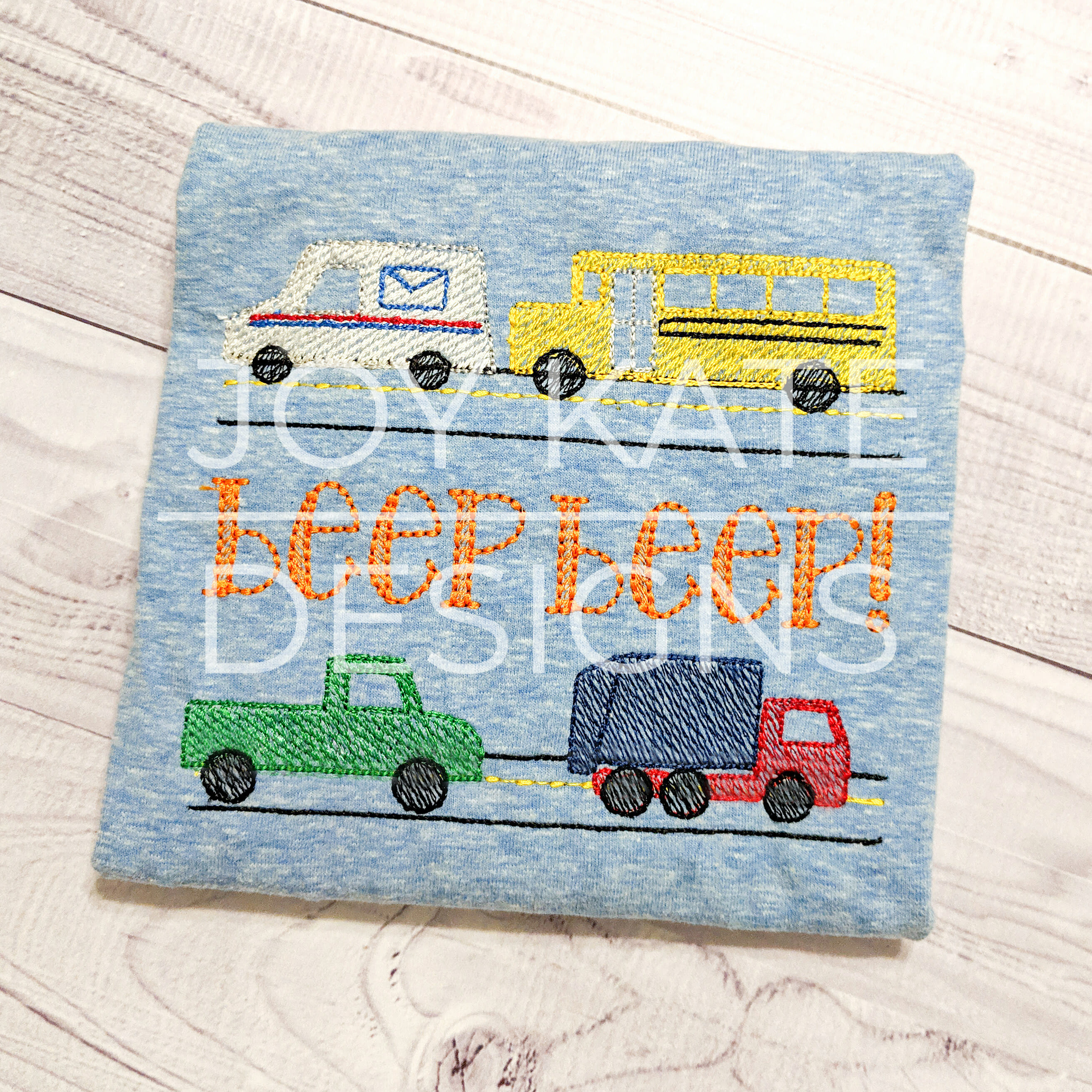 Build Your Own City Vehicles Set Embroidery Design