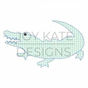 Bean stitch alligator applique design for machine embroidery