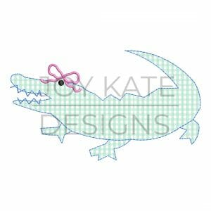 Bean stitch alligator with bow applique design for machine embroidery