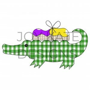 Bean Stitch Mardi Gras Gator with King Cake Applique Design for Machine Embroidery