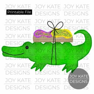 Alligator and king cake watercolor PNG clipart image