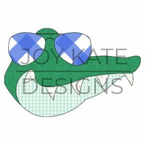 Vintage Gator Face with Sunglasses Applique Design for Machine Embroidery