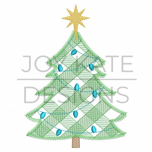 Sketch Gingham Christmas Tree Embroidery Design