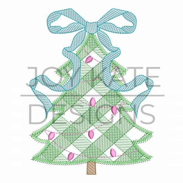 Sketch Gingham Christmas Tree with Bow Embroidery Design
