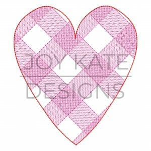 Sketch Gingham Heart Embroidery Design