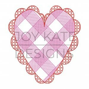 Sketch Gingham Lace Heart Embroidery Design