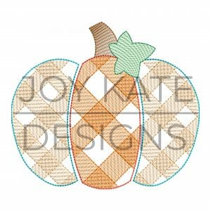 Fall gingham pumpkin design for machine embroidery