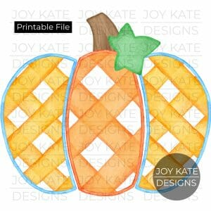 Gingham Pumpkin Watercolor PNG image
