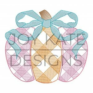 Fall gingham pumpkin with bow design for machine embroidery