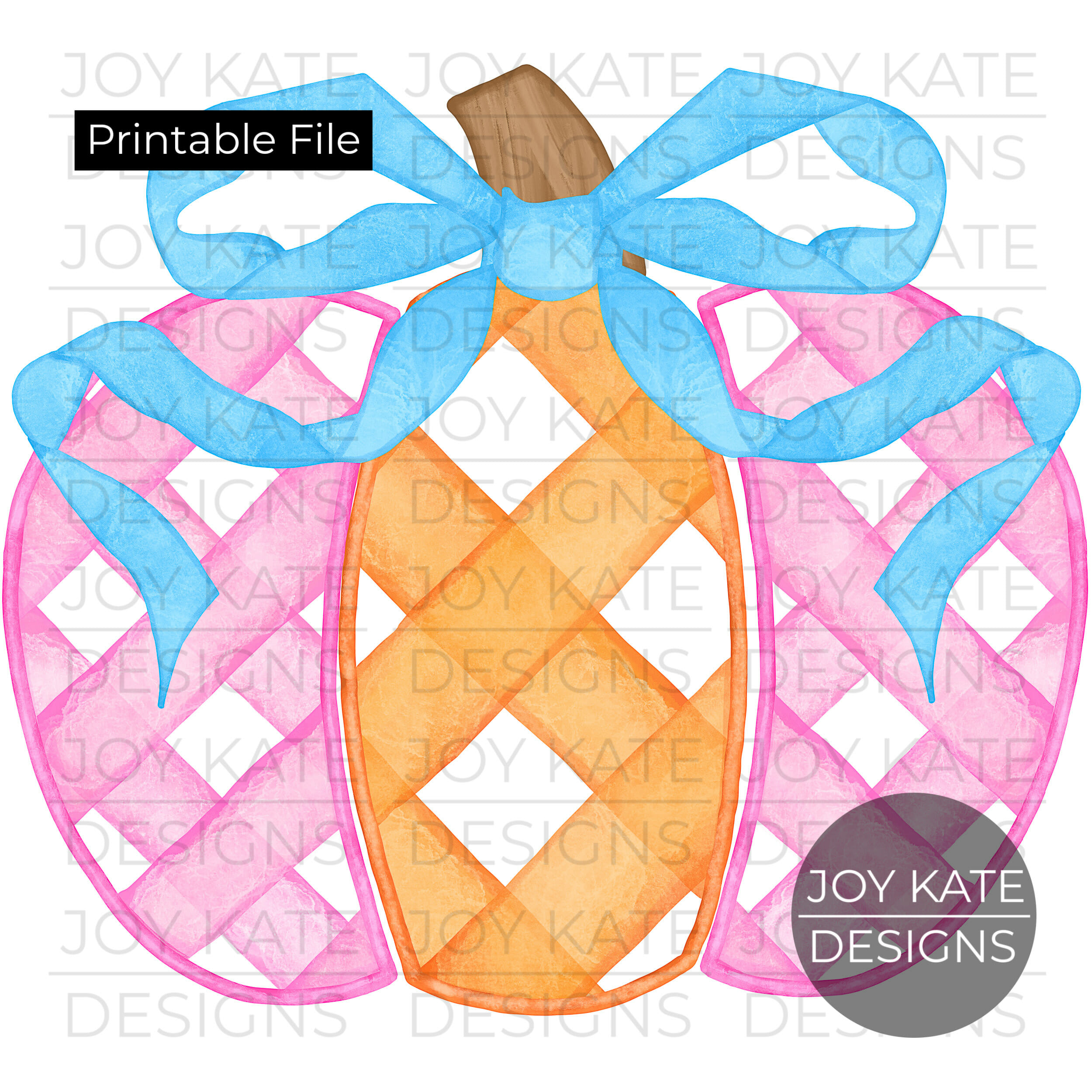 image relating to Watercolor Printable identified as Gingham Pumpkin with Bow Watercolor Printable PNG