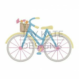 Light Fill Girl Bicycle with Basket of Flowers Machine Embroidery Design