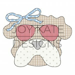 Vintage Bulldog Face with Sunglasses and Bow Applique Design for Machine Embroidery