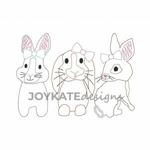 Quick Bean Stitch Easter Rabbits with Bows