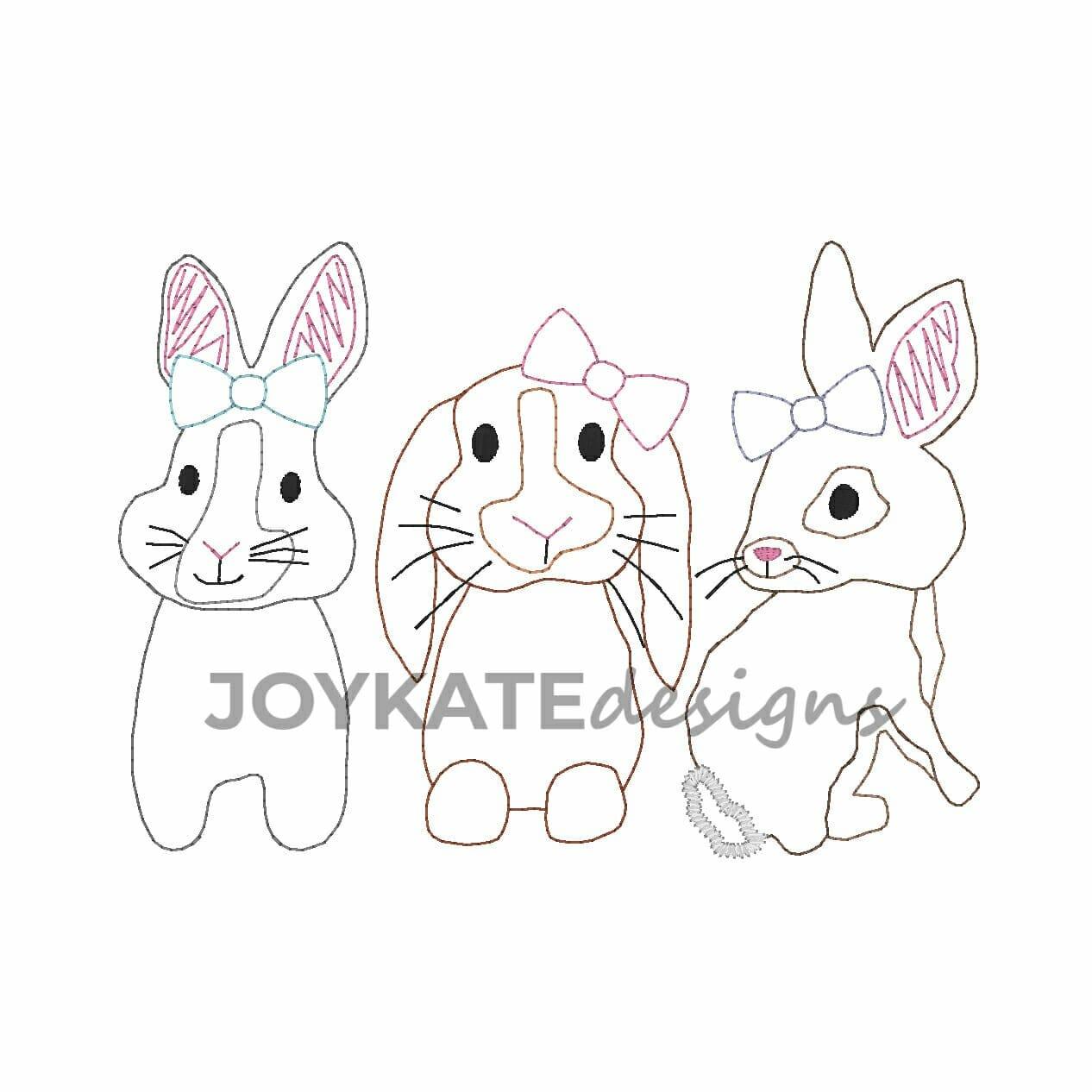 Girl Bunny Trio Vintage Embroidery Design Joy Kate Designs