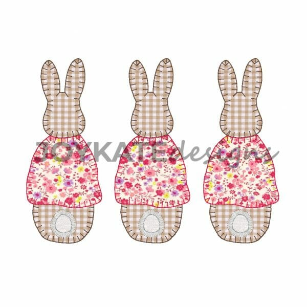 Blanket Stitch Girl Rabbit Trio Applique'. Flopsy, Mopsy, and Cotton-Tail.