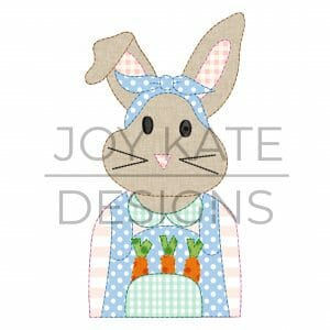 Bean Stitch Girl Easter Bunny with Carrots Applique Design for Machine Embroidery