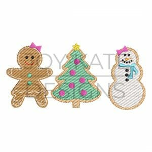 Girl Christmas cookies light fill/low density machine embroidery design