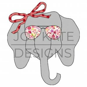 Vintage Elephant Face with Sunglasses and Bow Applique Design for Machine Embroidery