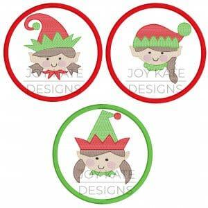 Girl elf face Christmas ornament embroidery design