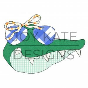 Vintage Gator Face with Sunglasses and Bow Applique Design for Machine Embroidery
