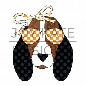 Vintage Hound Dog Face with Sunglasses and Bow Applique Design for Machine Embroidery