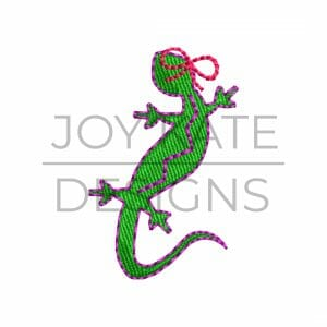 Mini regular heavy fill lizard with bow embroidery design