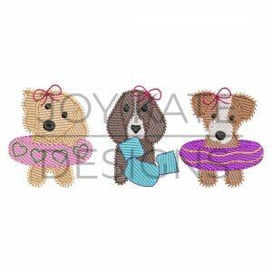 Sketch Girl Swim Floatie Puppy Dogs Embroidery Design