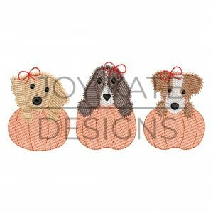 Fall Girl Puppy Pumpkin Trio Embroidery Design