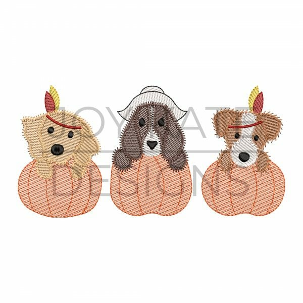 Thanksgiving girl dogs in pumpkins light sketch fill machine embroidery design