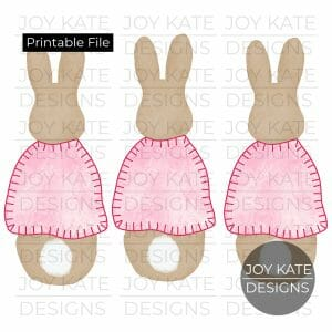 Girl Rabbit Tail Trio Easter Watercolor PNG image