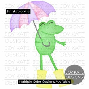 Frog with umbrella and rain boots watercolor PNG