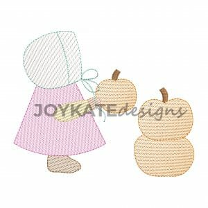 Vintage Light Fill Girl with Pumpkins Machine Embroidery Design