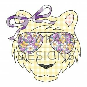 Vintage Tiger Face with Sunglasses and Bow Applique Design for Machine Embroidery
