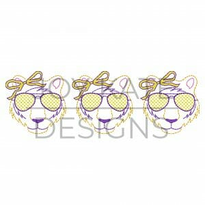 Three in a row tigers with sunglasses and bows vintage bean stitch embroidery design