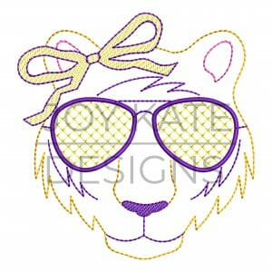 Vintage Tiger Face with Sunglasses and Bow Embroidery Design