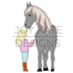 Girl with Horse Applique Design for Machine Embroidery
