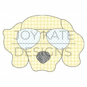 Dog with Sunglasses Applique Design for Machine Embroidery