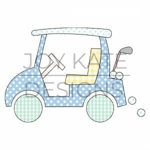 Vintage Applique Golf Cart Machine Embroidery Design