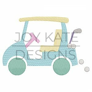 Golf Cart Sketch Embroidery Design